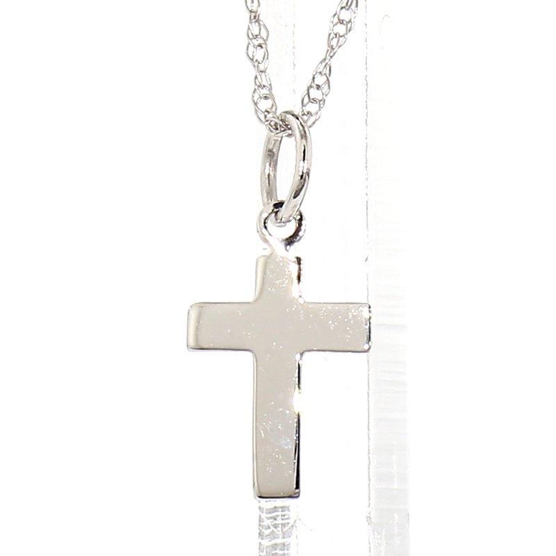 14K White Gold Petite Cross & Chain