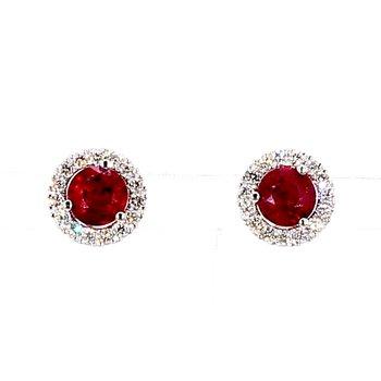 1 3/4ct Ruby and Diamond Halo Earrings