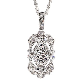 14Kt 1/2ct Vintage Inspired Diamond Necklace