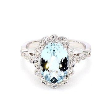 3.0ct Aquamarine & Diamond Ring