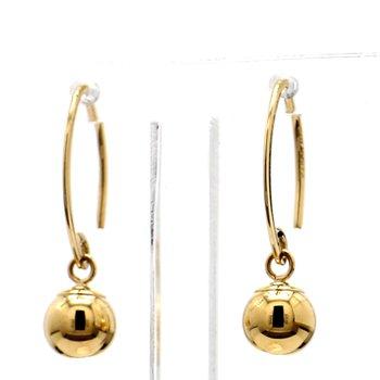 14KT Yellow Gold Simple Sweep w/ Bead Dangle Earrings