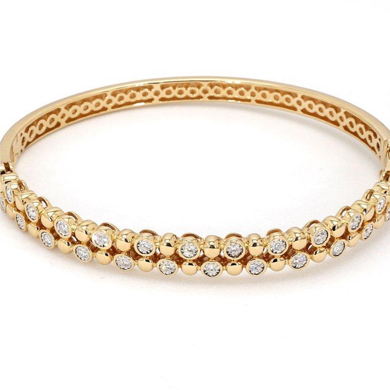.50 Carat Diamond Bezel 14 Karat Yellow Gold Bracelet