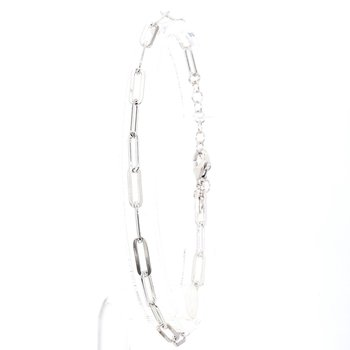 "Paper Clip Bracelet 7-8"" Adjustable 3.3mm Wide"