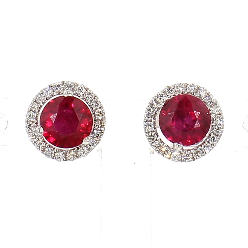 1.52ct Ruby & Diamond Halo Earrings