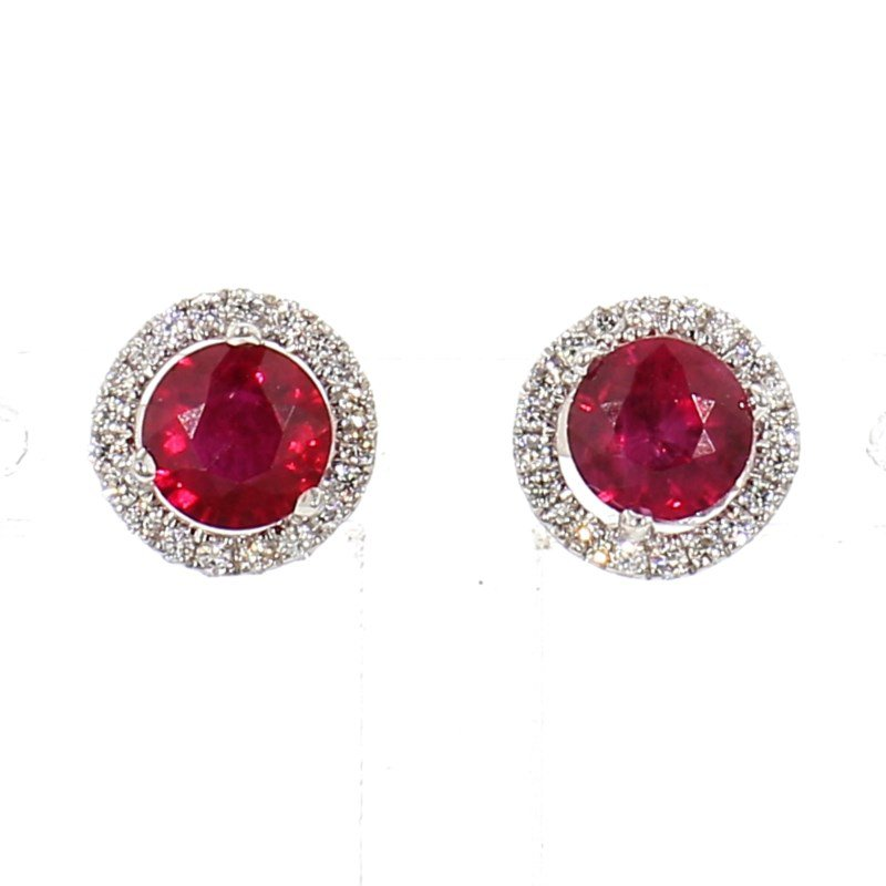 1.52ct Ruby & Diamond Halo Earrings