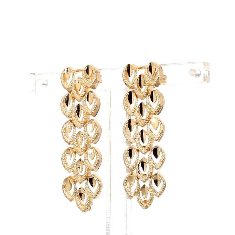 Vintage Floral Design Drop 18 Karat Yellow Gold Earrings