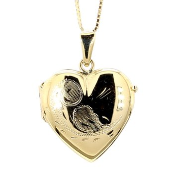 Large Engraved Gold Heart Locket