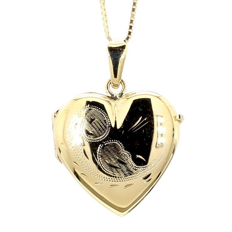 Large Engraved Gold Heart Locket