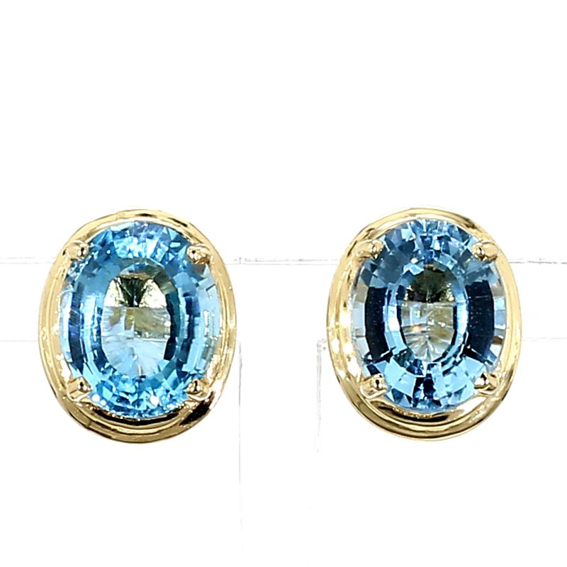9.0ct Oval Blue Topaz Stud Earrings