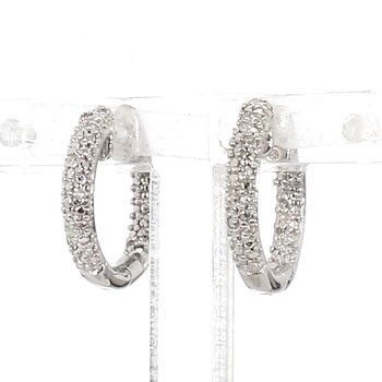 .06ct Pavé Diamond Hoop Earrings