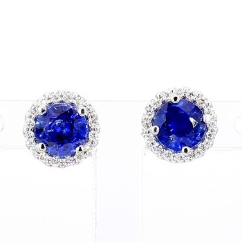 1.37ct Sapphire and Diamond Halo Earrings