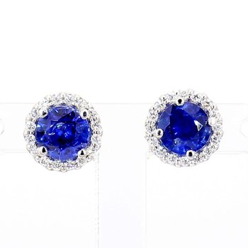 1.37ct Sapphire and Diamond Halo Earrings