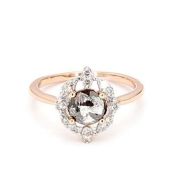 Rose Cut Salt & Pepper Diamond Halo Engagement Ring