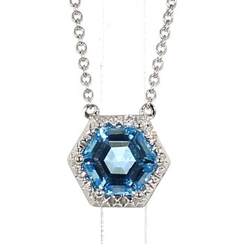 1.85 Carat Blue Topaz And Diamond Drop Pendant