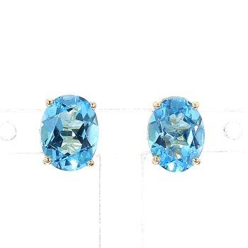 3 1/5ct Swiss Blue Oval Blue Topaz Stud Earrings