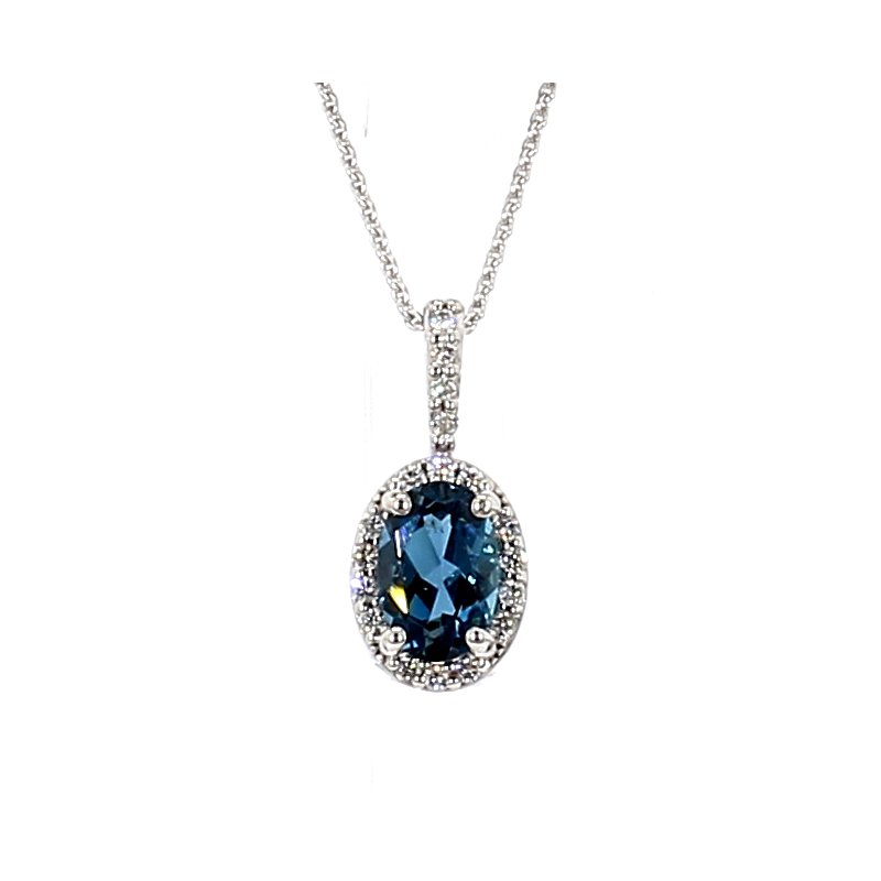 3/5ct Blue Topaz & Diamond Pendant