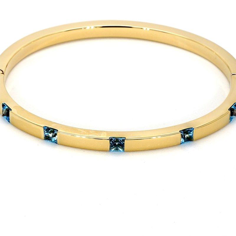 "1 1/2ct Blue Topaz Bangle Bracelet 7"""