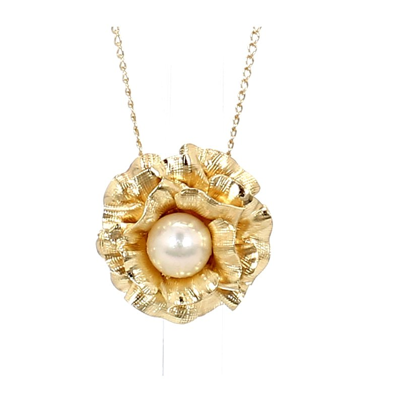 Pearl Pendant with Floral Design