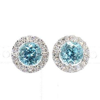 4.25ct Blue Zircon & Diamond Earrings