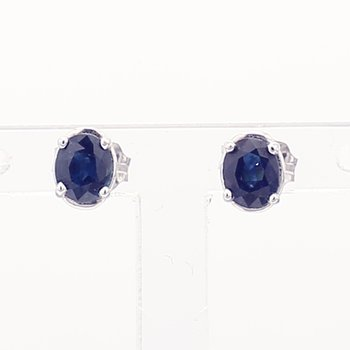 Oval Royal Blue Sapphire Studs