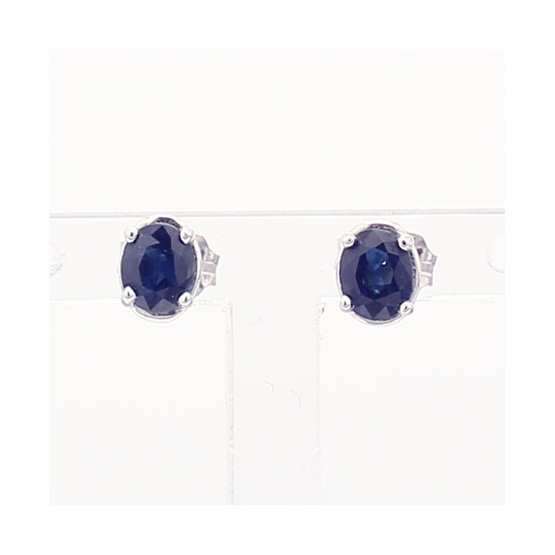 Oval Royal Blue Sapphire Studs