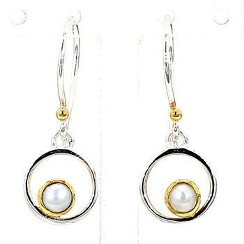 .925 Sterling Silver & 22K Yellow Gold Vermeil Earring with White Pearl