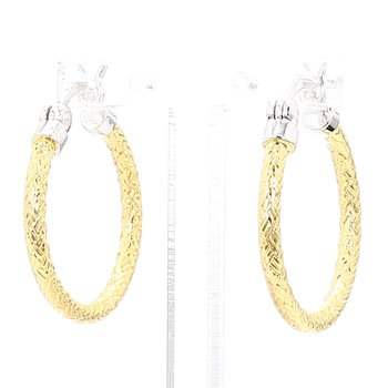 Sterling Silver 18K Yellow Gold Rhodium Plated Mesh Hoop Earrings 22.7 x 2mm