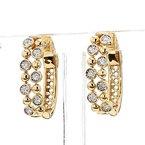 14Kt Bubble Style Bezel Set Hoop Earrings