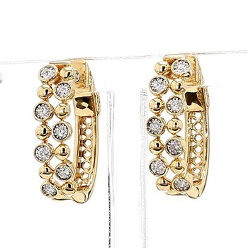 14Kt Bubble Style Bezel Set Hoop Earrings