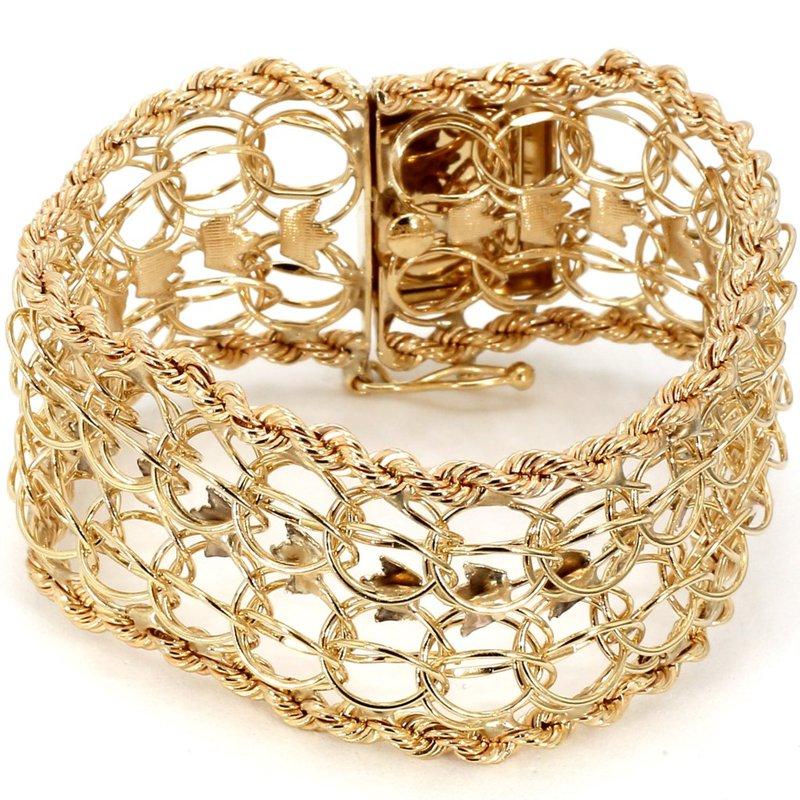 "14KY 8 Row Textured Charm Bracelet  6.5"""