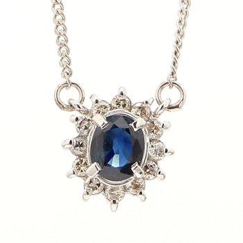 Estate Platinum Sapphire & Diamond Necklace