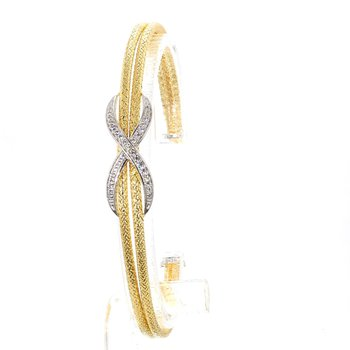 "Mesh Station Infinity Style Bangle Bracelet 6.75"" x  2mm"