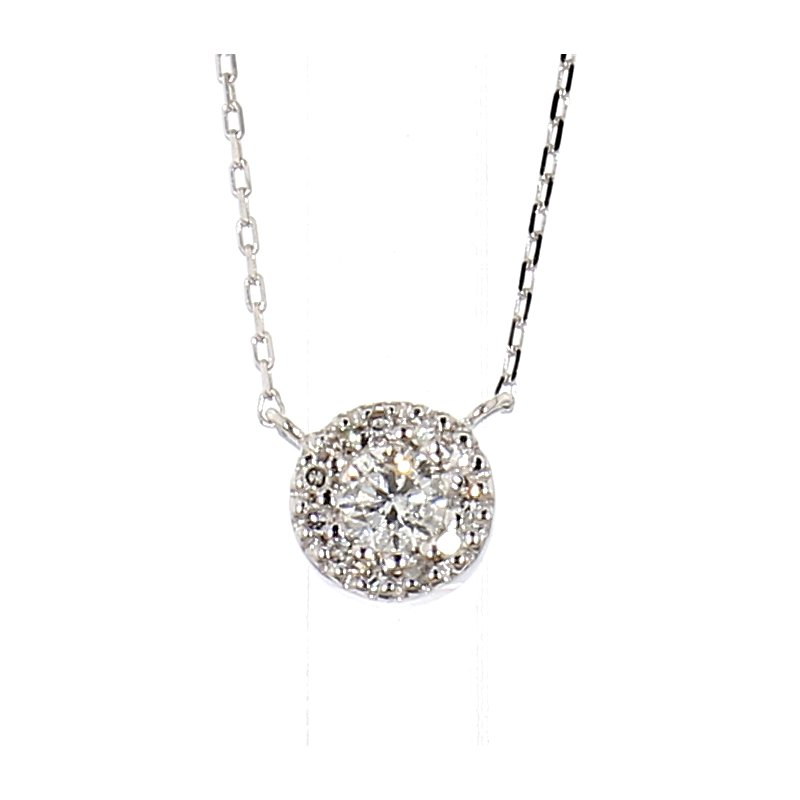 "1/7ct Diamond Halo Necklace 18"""