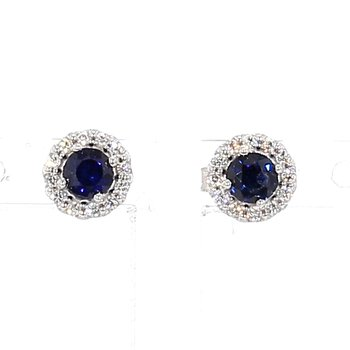 .52ct Sapphire & Diamond Halo Earrings