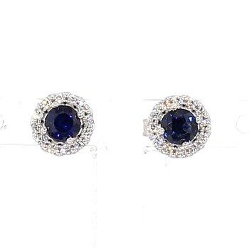 .52ct Sapphire & Diamond Halo Earrings