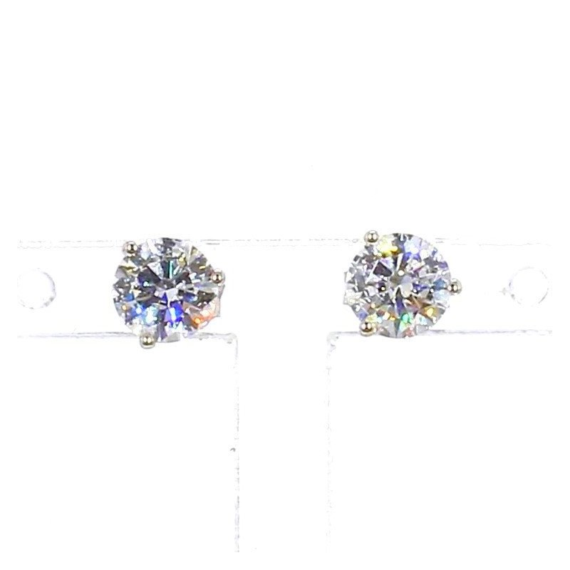 1 Carat Round Brilliant Diamond Stud Earrings