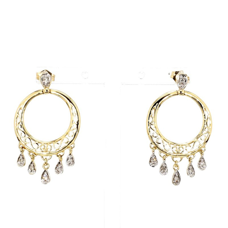 14KT Two Tone Gold Infinity Inspired Drop Earrings