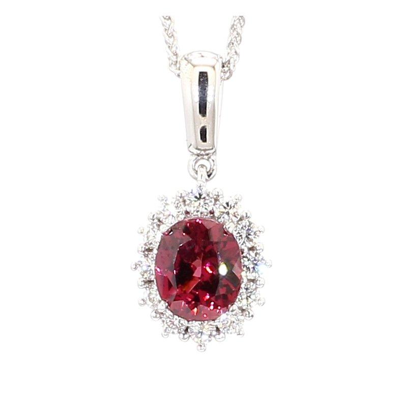 Princess Kate Pink Oval Halo Necklace