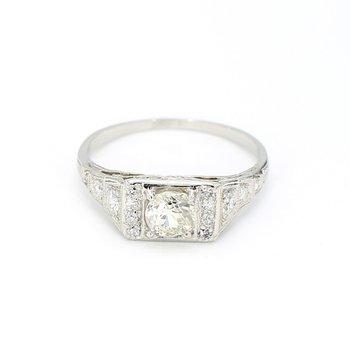 1.00 Carat Antique Circa 1930's Old Mine Cut Diamond Platinum Engagement Ring