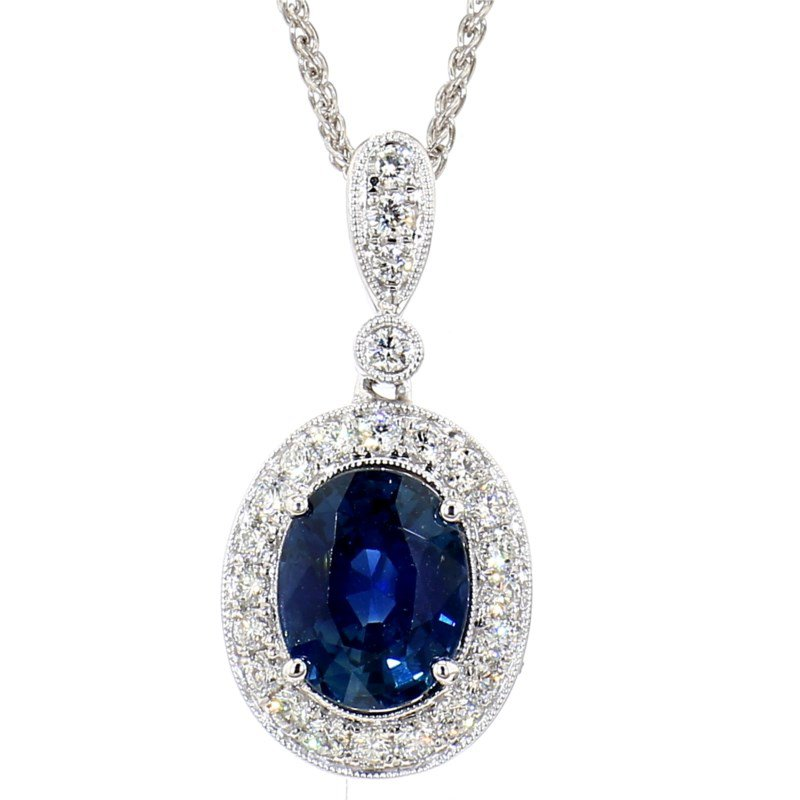 4.04 Carat Blue Sapphire And Diamond Halo Pendant