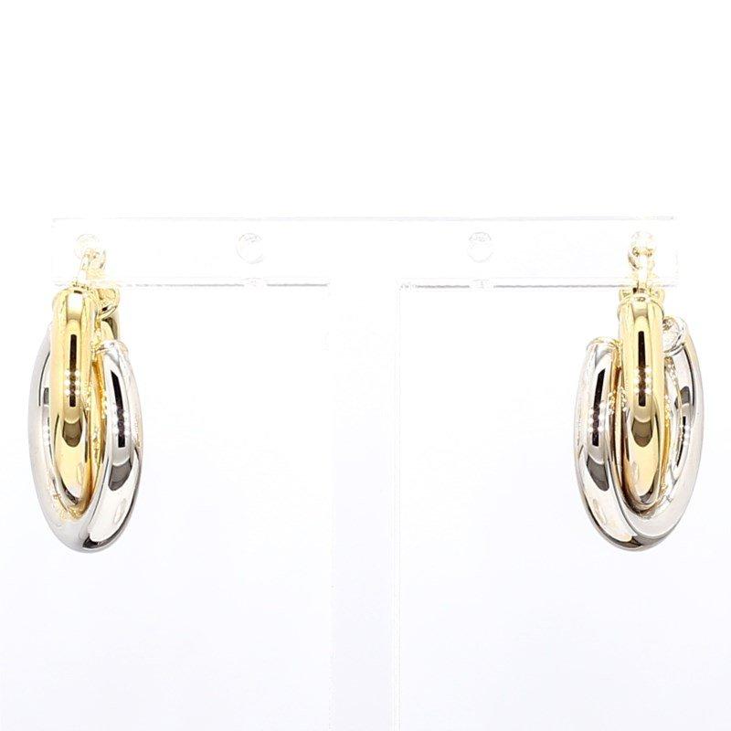 Two Tone Hoop Gold Earrings