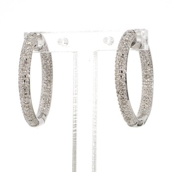 .06ct. Pave Diamond Hoop Earrings