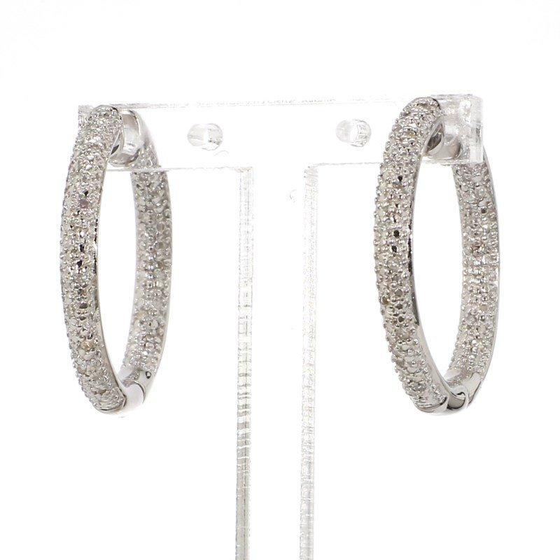 .06ct. Pave Diamond Hoop Earrings