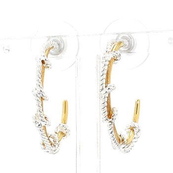 .925 Sterling Silver & 22K Yellow Gold Vermeil Earring 25mm