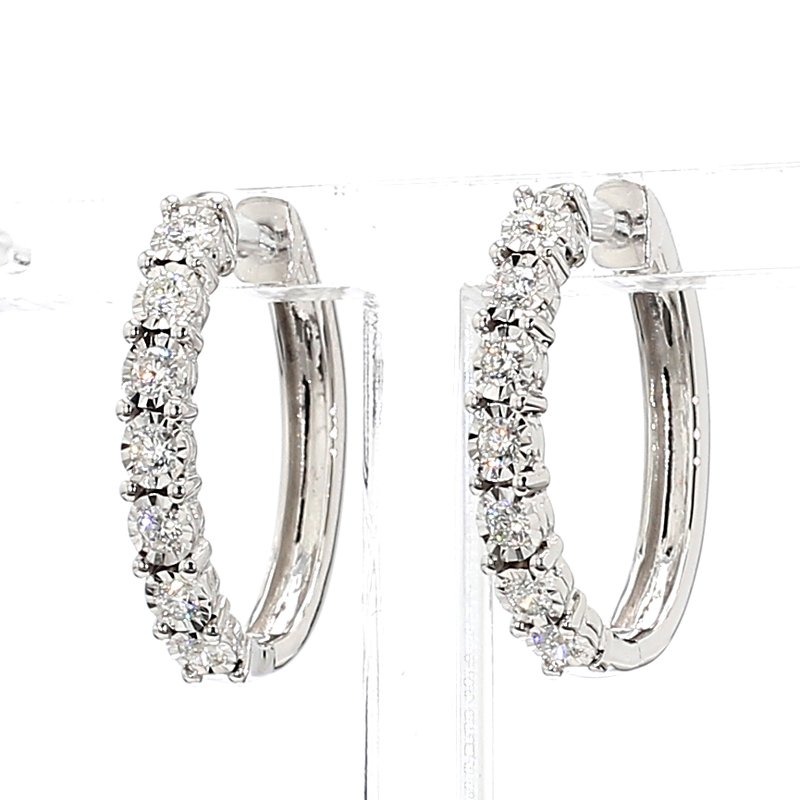 1/2ct Oval Diamond Hoop Earrings