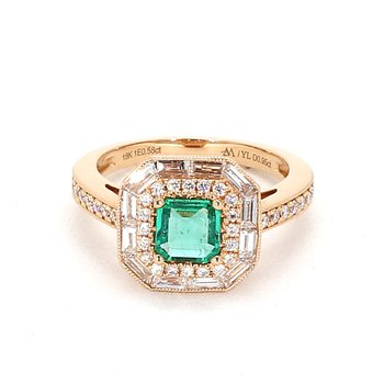 1.60 Carat Emerald And Diamond Ring
