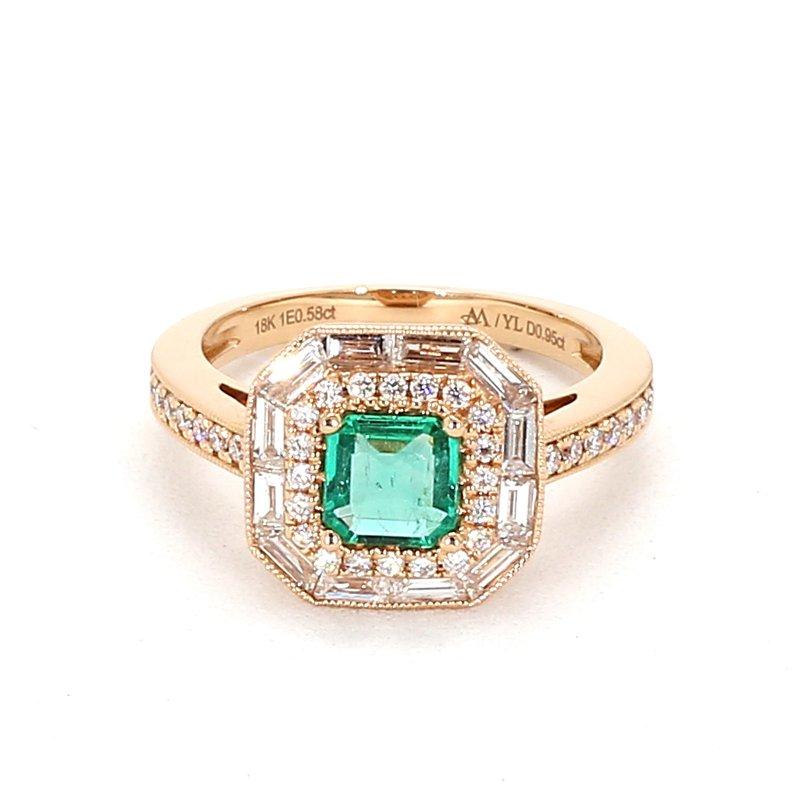1.60 Carat Emerald And Diamond Ring