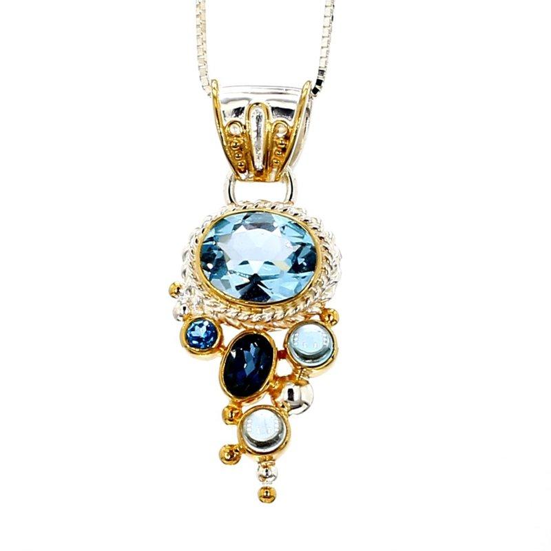 Sterling Silver & 22KT Gold Vermeil Blue Topaz Pendant
