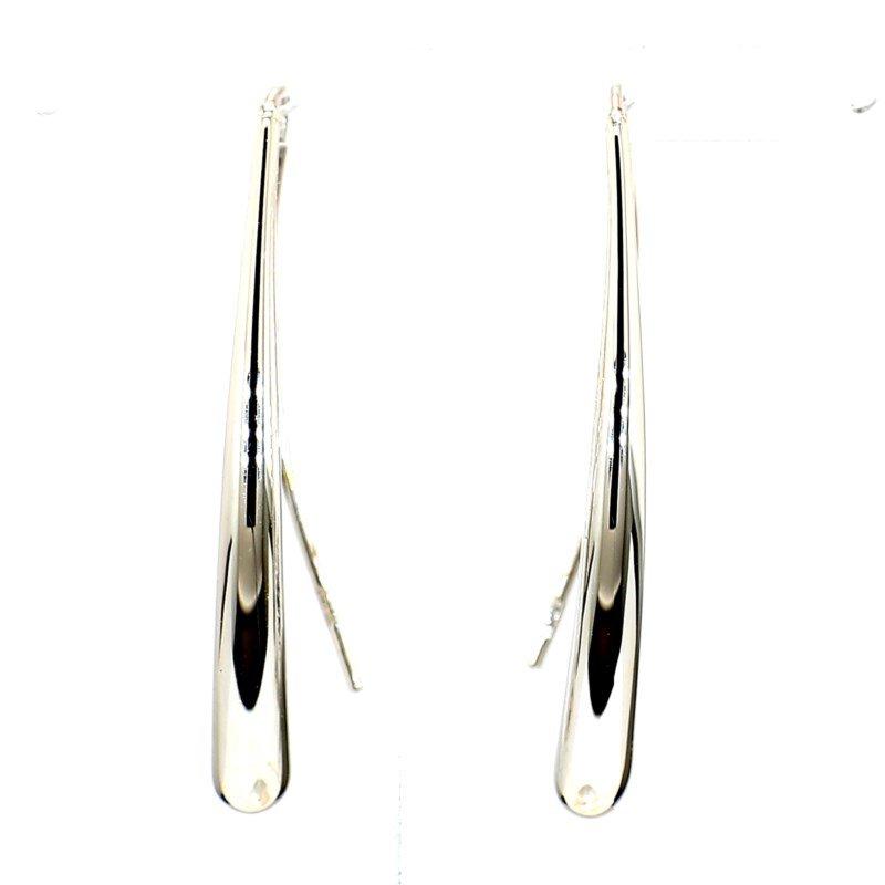 14 Karat White Gold  T Drop Wire Earrings