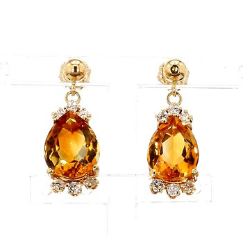 5 1/4ct Citrine & Diamond Drop Earrings
